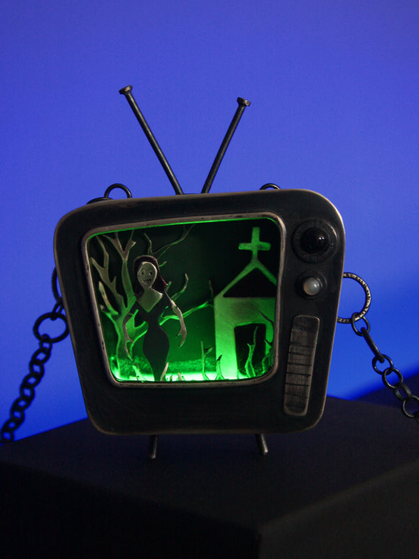 Vintage Television with Plan 9 Scene of Vampira in the Graveyard