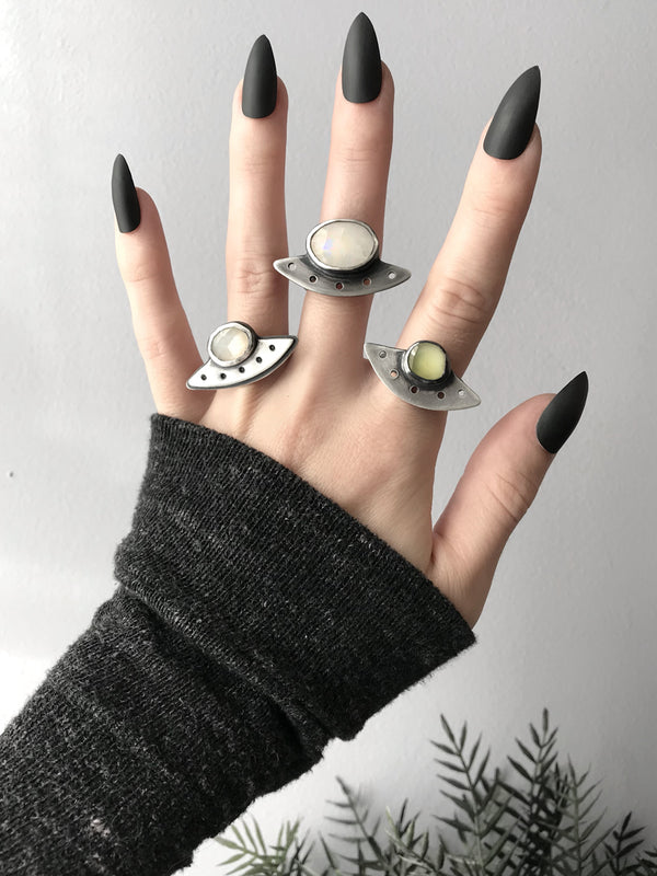 Moonstone and Quartz Flying Saucer Rings - Sizes 8, 7.5, and 9