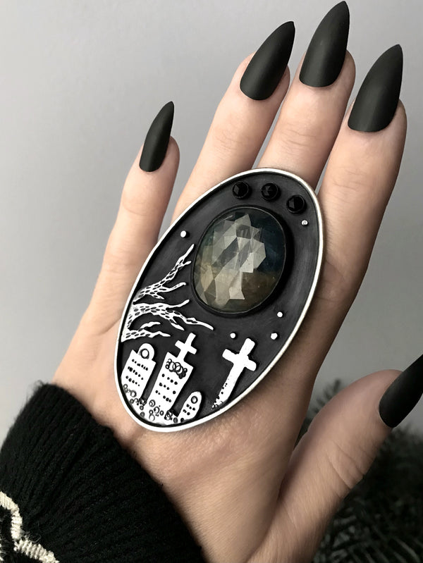 Dramatic Sapphire and Black Spinel Graveyard Scene Ring, Size 7