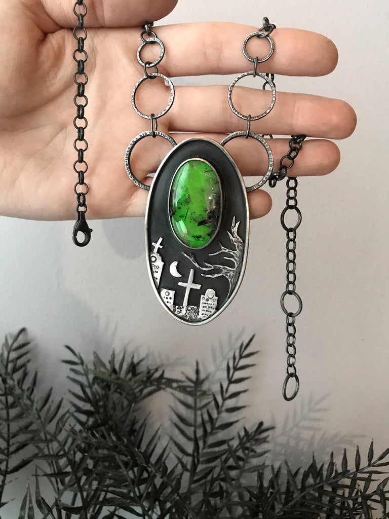 Cemetery Statement Necklace with Glowing Green Prehnite