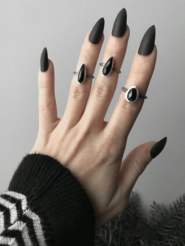 Black Onyx Vampira Claw Midi Rings, Sizes 2, 3, and 5.75