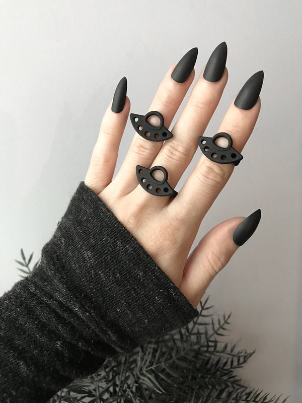 Black-Out UFO Rings - Available in sizes 3-12