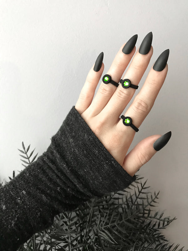 Black-Out Light Year Rings with Green Crystal - Available in sizes 3-10