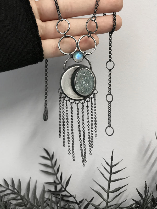 Lunar Fringe Amulet with Druzy and Rainbow Moonstone