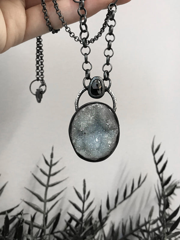 Sparkling Crystal Druzy and Black Onyx Pendant
