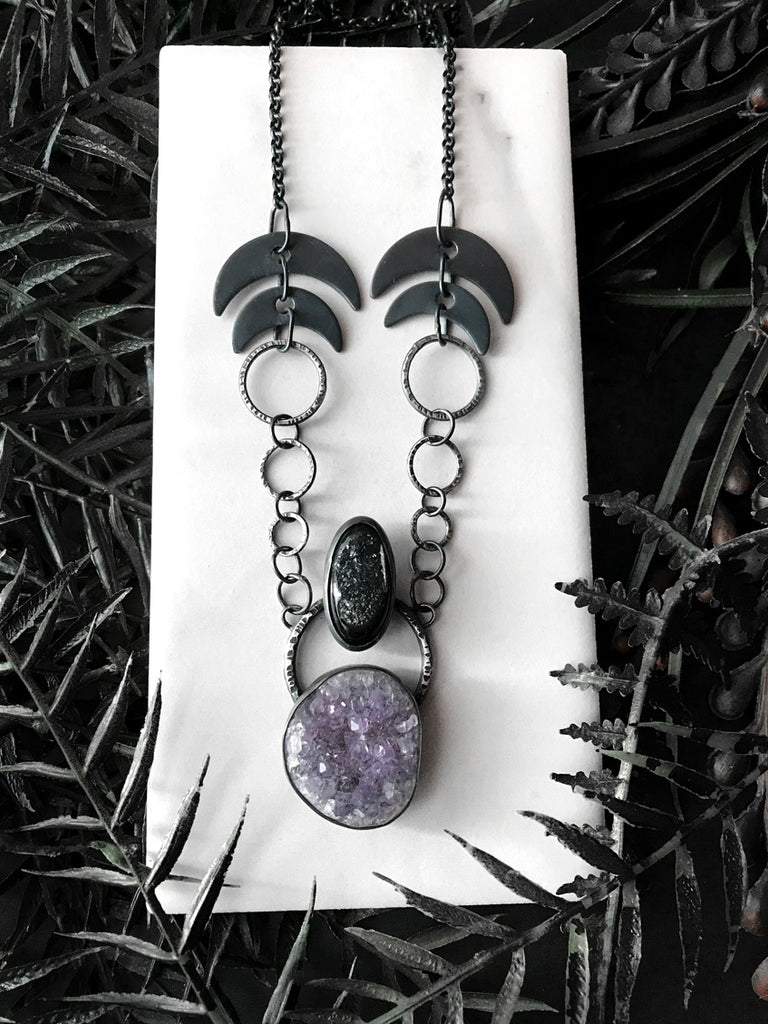 Amethyst and Agate Druzy Talisman with Lunar Chain