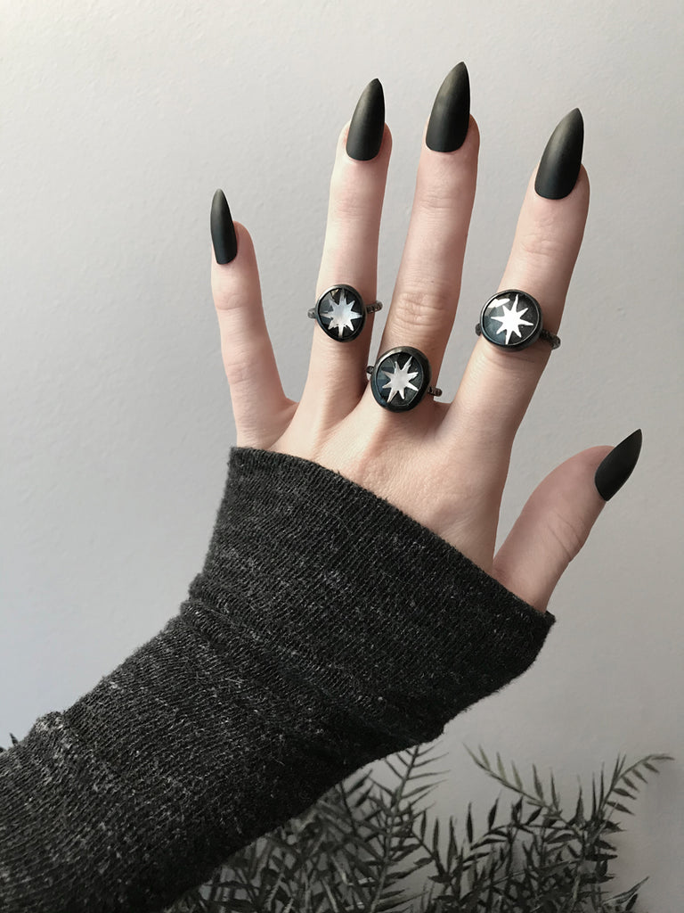 Quartz and Black Mica Starburst Rings (3 Available)