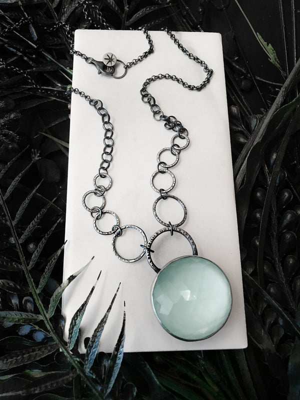 Glowing Blue Crystal Ball Necklace
