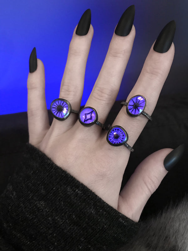 Glowing Purple Quartz Rings (4 Available)