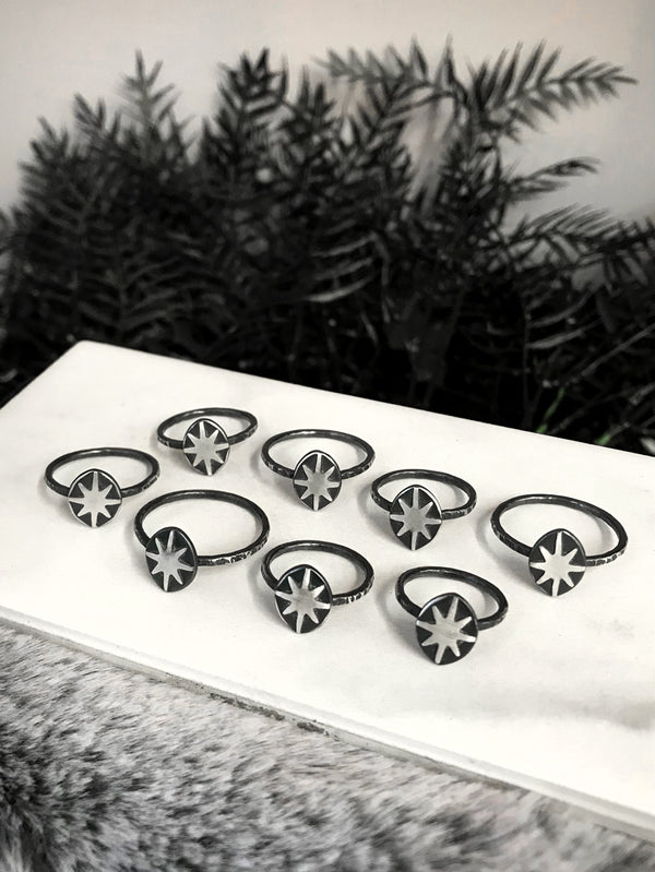 Dainty Silver Starburst Rings (8 Available)
