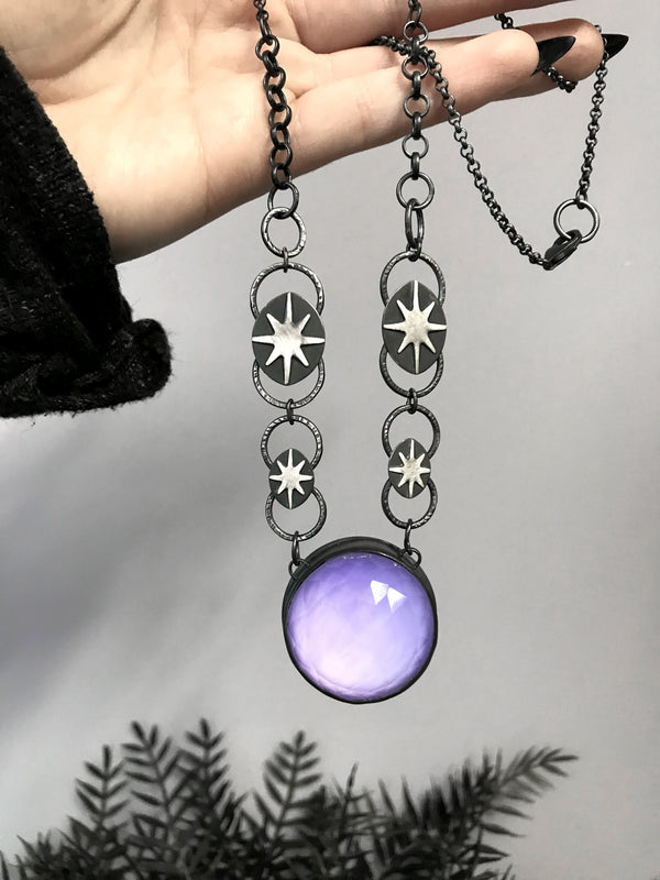 Purple Crystal Ball Necklace with Starburst Chain