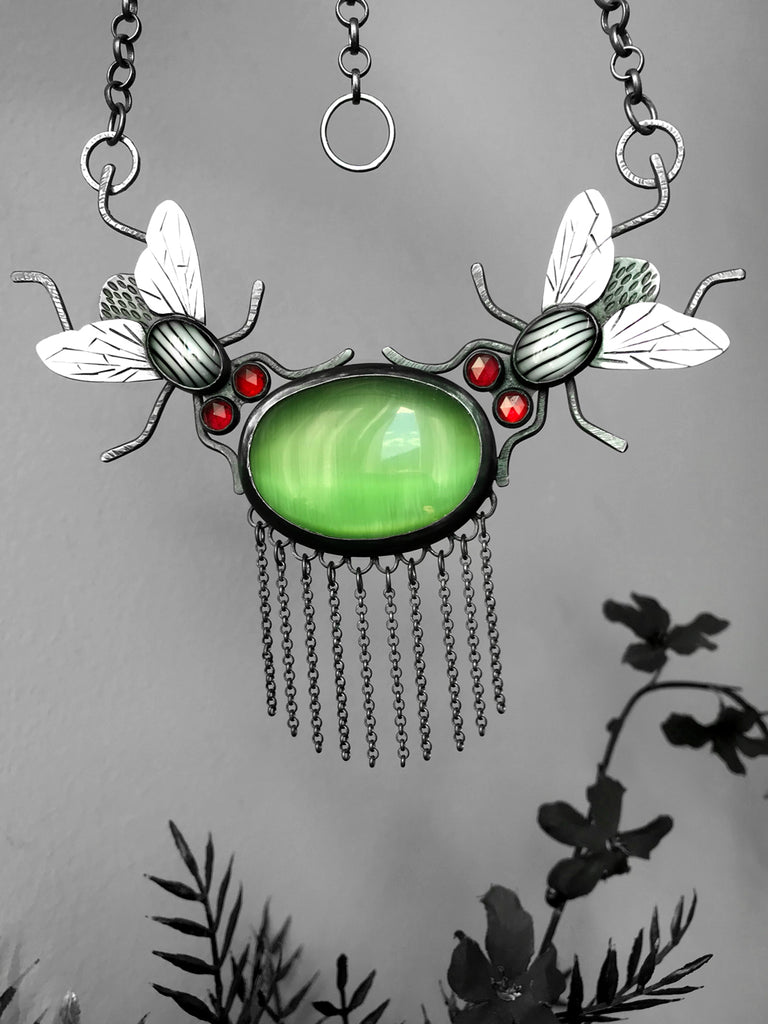 Fly And Venus Flytrap Statement Fringe Necklace