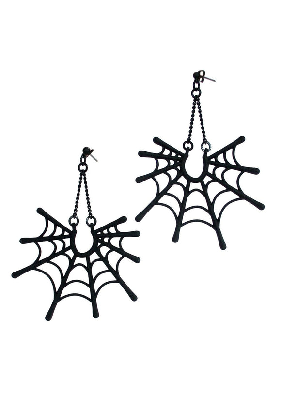 Matte Black Dangling Spider Web Earrings - Goth/Punk Jewelry - Dark Fashion - Spooky Girl, Witchy Woman - 3d Printed Jewelry