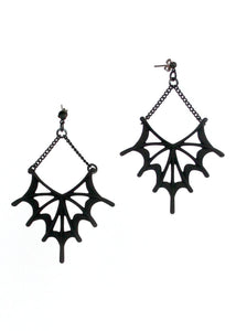 Matte Black Bat Wing Earrings - Gothic Spider Web Jewelry - Witchy Jewelry - 3d Printed