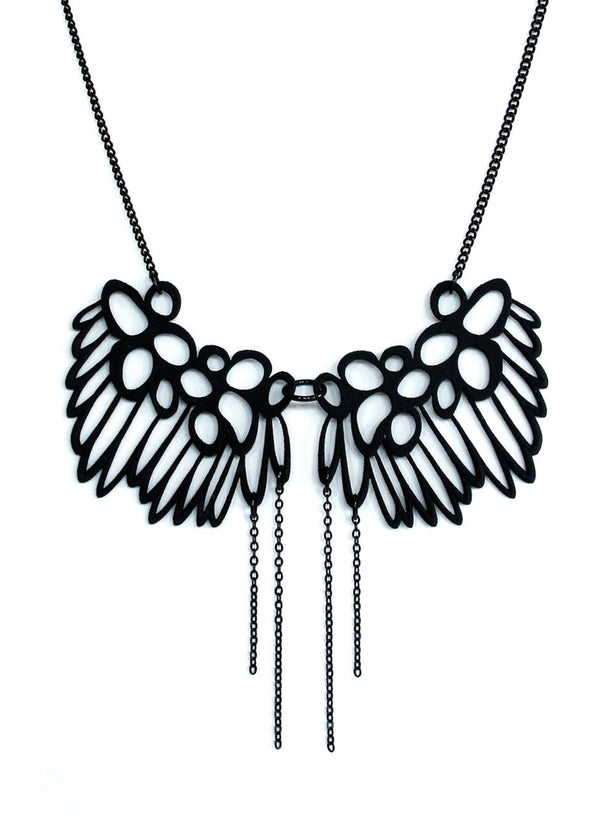 Feminine Black Butterfly Lace Necklace - Dangling Black Chain - Unusual 3d Printed Jewelry