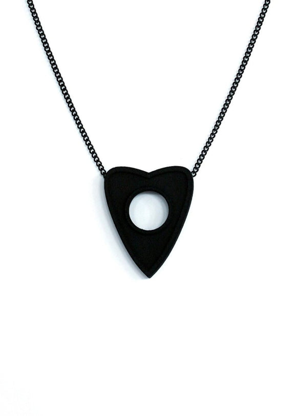 Matte Black Planchette Pendant - Inspired by Ouija Boards - Spooky Cute Necklace - Unusual 3d Printed Jewelry