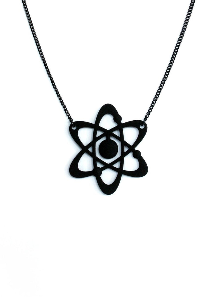 Matte Black Atomic Symbol Necklace - Nuclear Physics - Mid Century Modern Inspired - 3d Printed