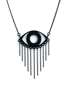 Matte Black Evil Eye Necklace with Black Chain Fringe - Goth Jewelry - Witchy Pendant - Unusual 3d Printed Jewelry