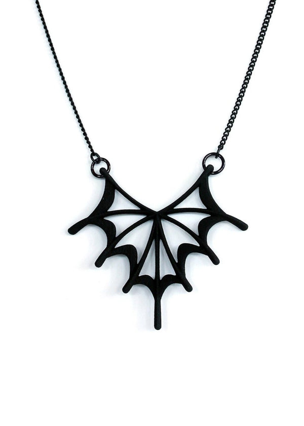 Matte Black Bat Wing Necklace - Spider Web Pendant - Gothic Jewelry - Spooky Lady Jewelry - 3d Printed