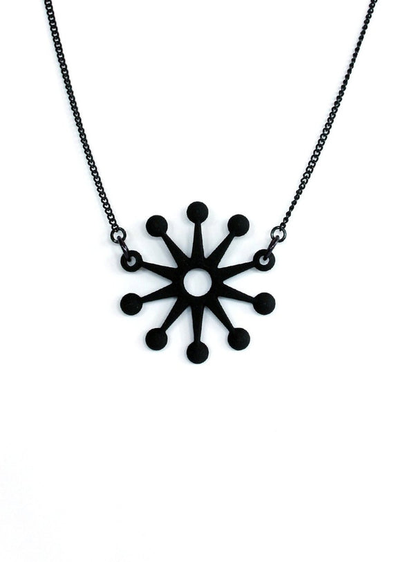Matte Black Retro Sunburst Necklace - Mid Century Modern Inspired Pendant - Unusual 3d Printed Jewelry