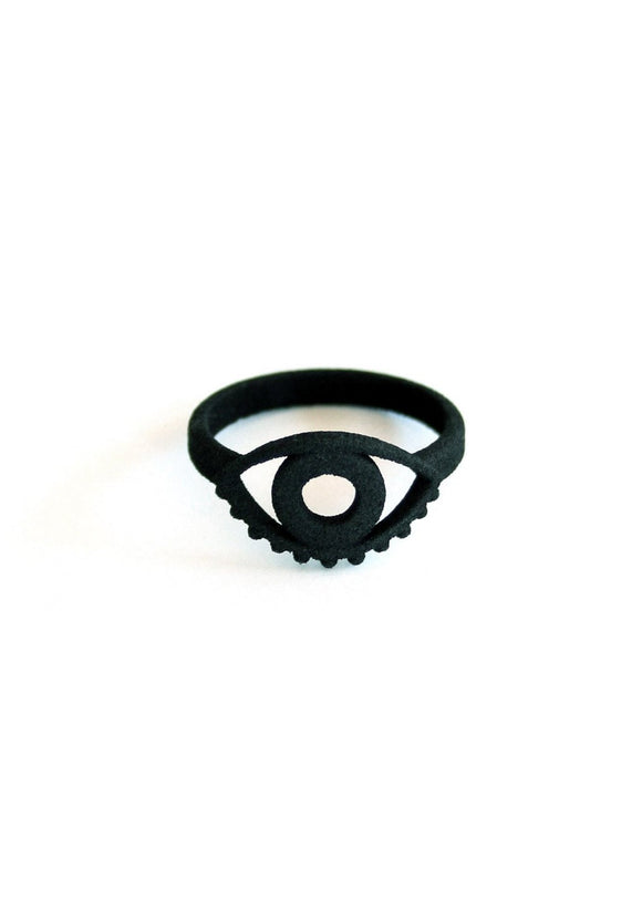 Matte Black Evil Eye Ring - Witchy Jewelry - Goth Ring - Dark Jewelry - 3d Printed