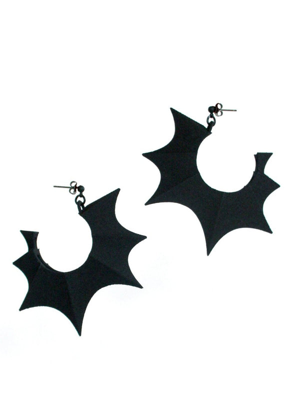 Big Black Bat Wing Hoop Earrings - Gothic Witchy Earrings - Dark Jewelry