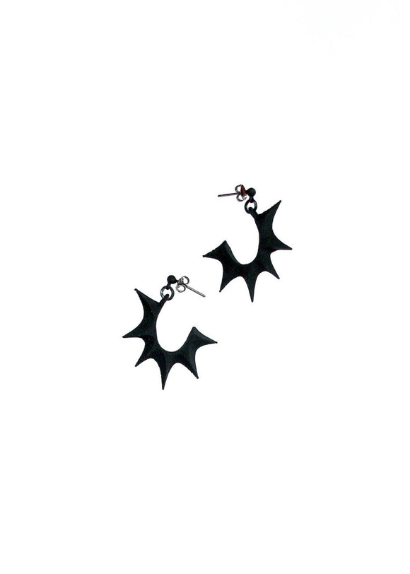 Tiny Bat Wing Hoop Earrings - Gothic Jewelry - Vampira