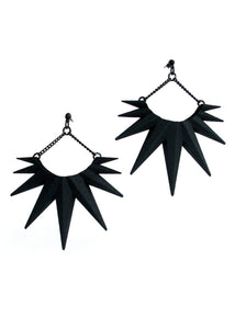 Matte Black Spike Earrings - Mid Century Starburst Jewelry - Big Dangle Earrings - Witch/Goth/Punk Jewelry
