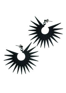 Spiky Black Earrings - Sunburst Radial Star - Witch/Goth/Punk Jewelry