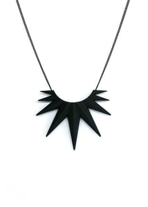 Matte Black Spiky Necklace - Mid Century Starburst - Witchy Gothic Pendant - Dark Jewelry