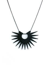 Matte Black Spike Necklace - Black Hole Sun - Geometric Radial Sunburst Pendant - 3d Printed Jewelry