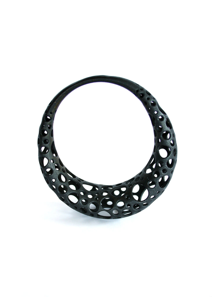 Sci Fi Black Metal Space Queen Bangle Bracelet - Trypophobia Jewelry - Statement Bracelet - 3d Printed Metal Jewelry