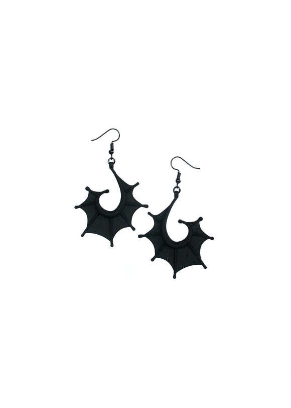 Matte Black Bat Wing Earrings - Dragon Wing Jewelry - Creature from the Black Lagoon - 3d Printed Jewelry