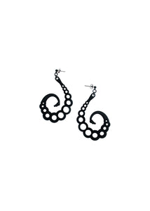 Matte Black Swirl Earrings - Insect Larva Jewelry - Tentacle Earrings - 3d Printed Jewelry