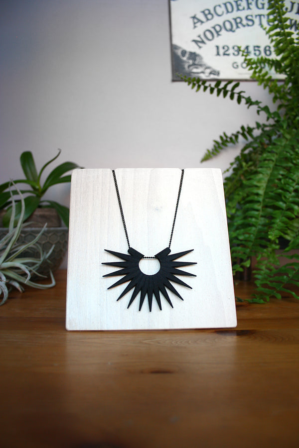 Spiky Black Sunburst Necklace.  Geometric Witchy Jewelry.  3d Printed.  $54