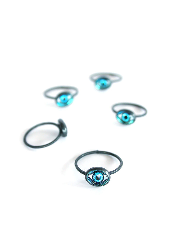 Tiny Blue Glass Eye Ring