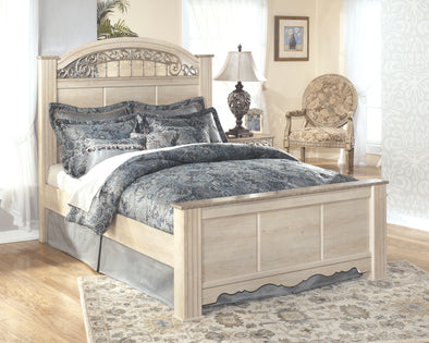 Catalina - Antique White - King Poster Footboard