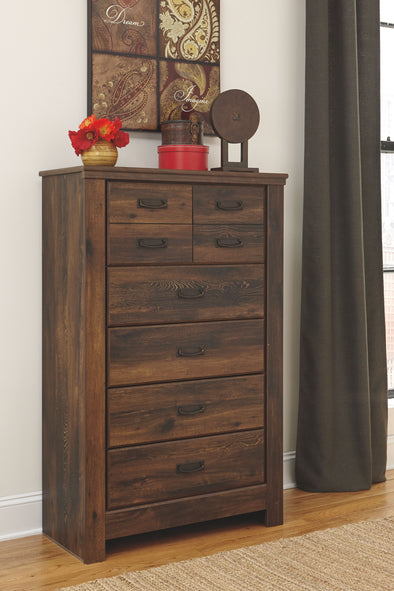 Quinden - Dark Brown - Five Drawer Chest