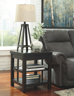 Gavelston - Rubbed Black - Square End Table