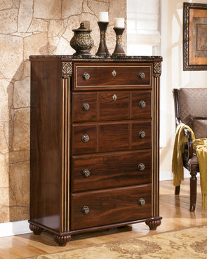 Gabriela - Dark Reddish Brown - Five Drawer Chest
