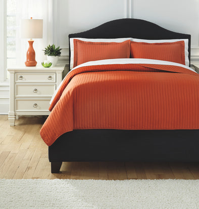 Raleda - Orange - King Coverlet Set