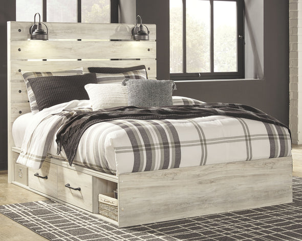 Cambeck - Whitewash -  Panel Bed with Side Storage