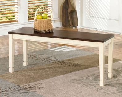 Whitesburg - Brown/Cottage White - Large Dining Room Bench