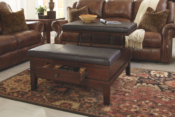Gately - Medium Brown - Ottoman Cocktail Table