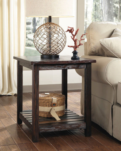 Mestler - Rustic Brown - Rectangular End Table