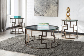 Frostine - Dark Bronze Finish - Occasional Table Set (3/CN)
