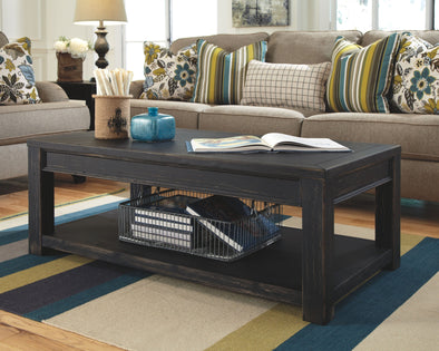 Gavelston - Black - Rectangular Cocktail Table
