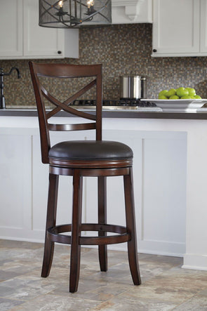 Porter - Rustic Brown - Tall UPH Swivel Barstool(2/CN)