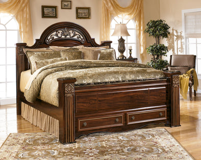Gabriela - Dark Reddish Brown - King Poster Storage Footboard