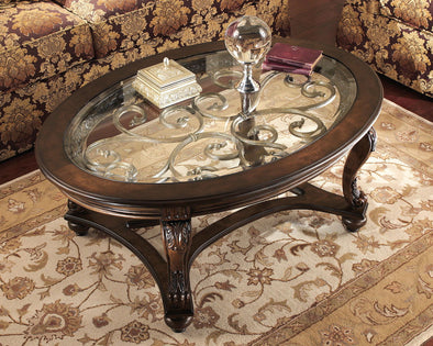 Norcastle - Dark Brown - Oval Cocktail Table